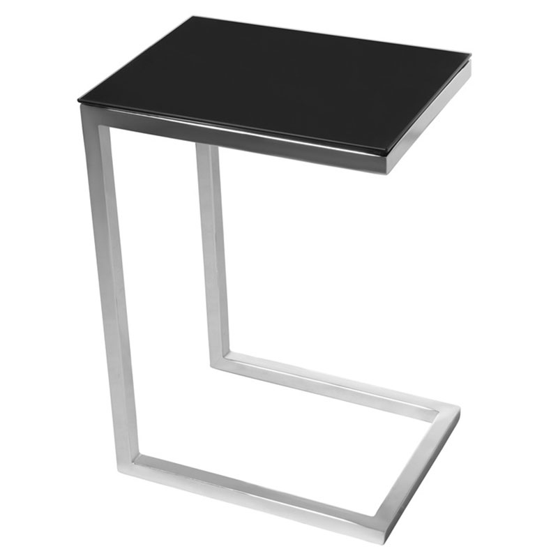 sierra modern accent table - satin nickel base