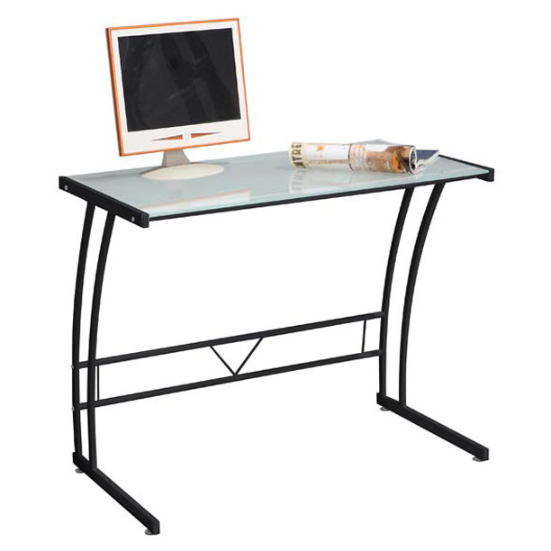 Stuart Modern Desk in Black with Frosted Glass