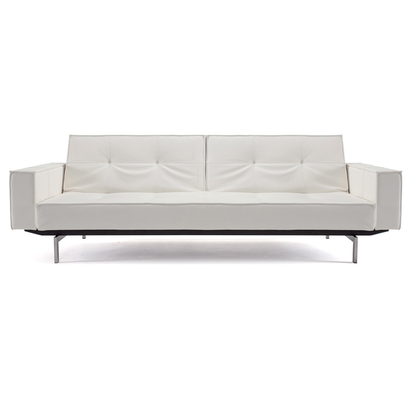 Splitback Modern Sleeper Sofa in White Polyurethane