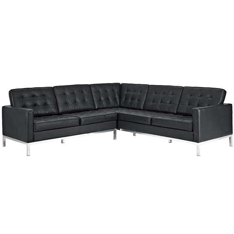 studio black leather sectional sofa