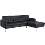 studio leather sofa with chaise in black