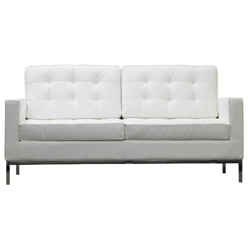 studio leather loveseat in white