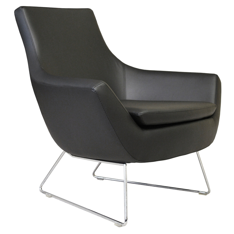 Becca Modern Lounge Chair - Black Leatherette