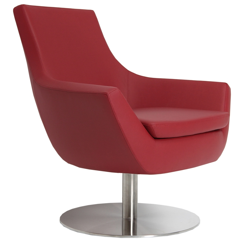 Becca Modern Swivel Chair - Red Leatherette