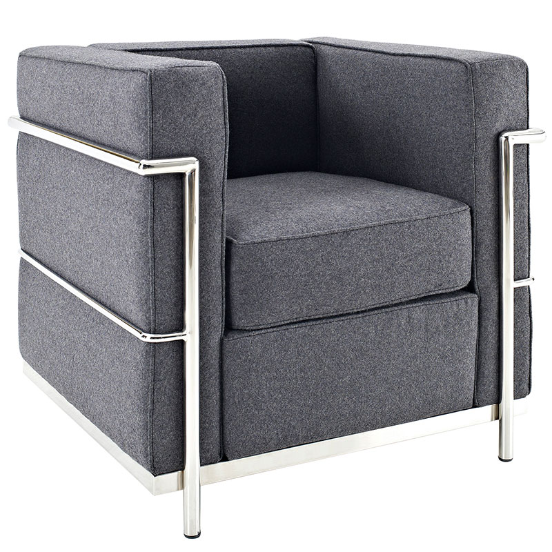 leigh wool modern chair in dark gray