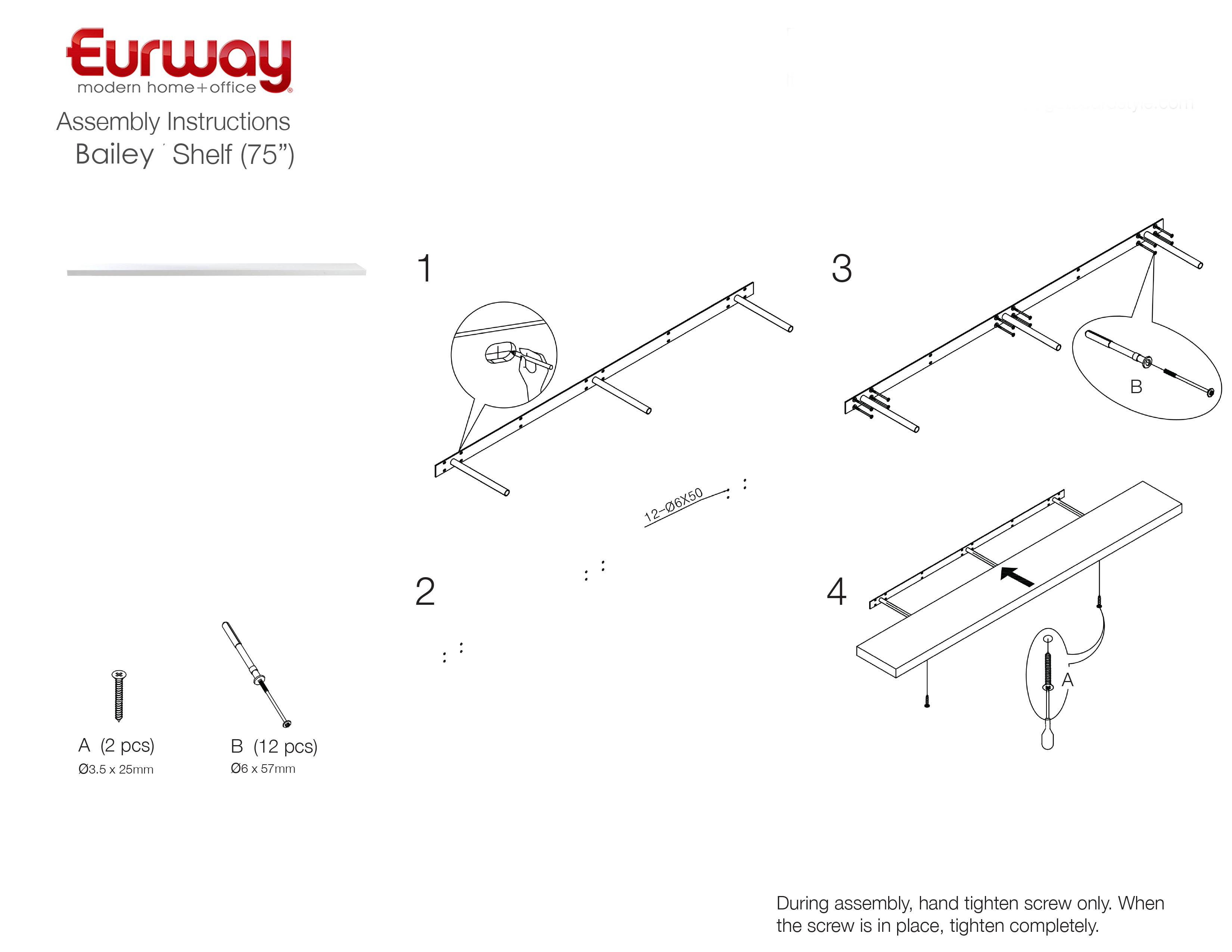 Bailey 75 modern white wall shelf eurway furniture view mounting instructions ccuart Images