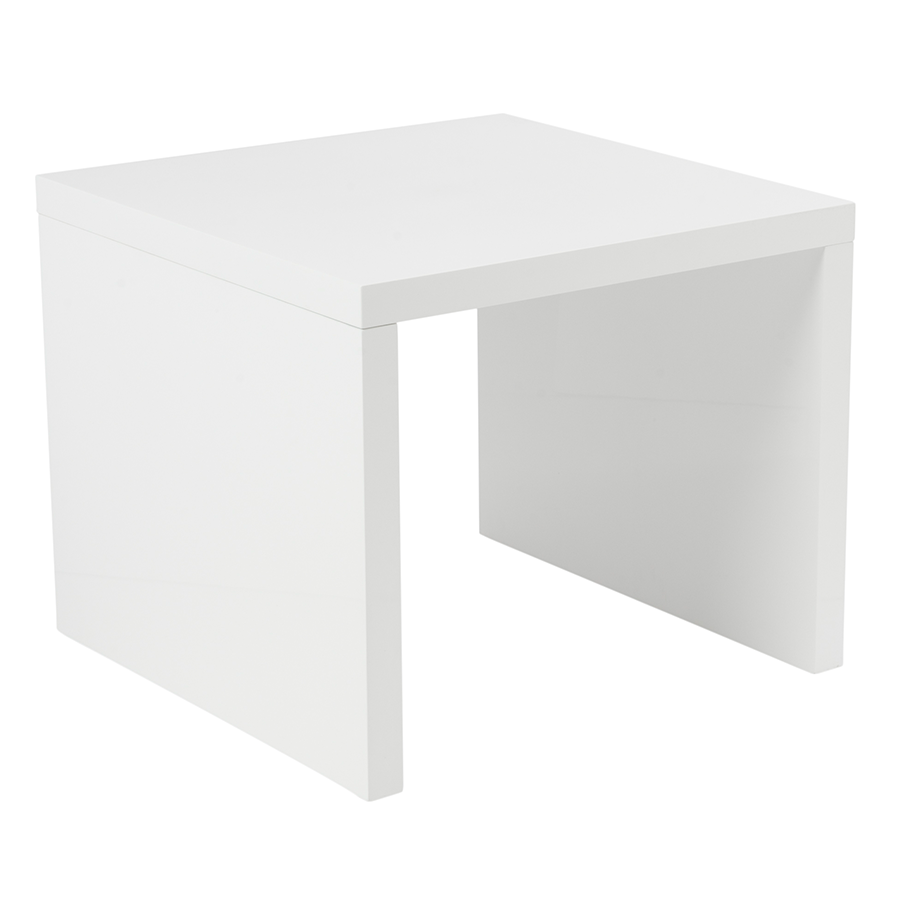 Abel High Gloss White Lacquer Modern Side Table