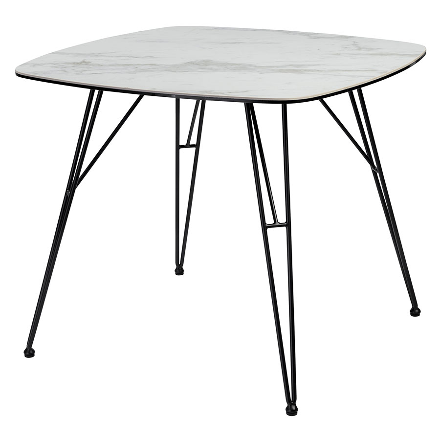 White Stone Top Dining Table Black Metal