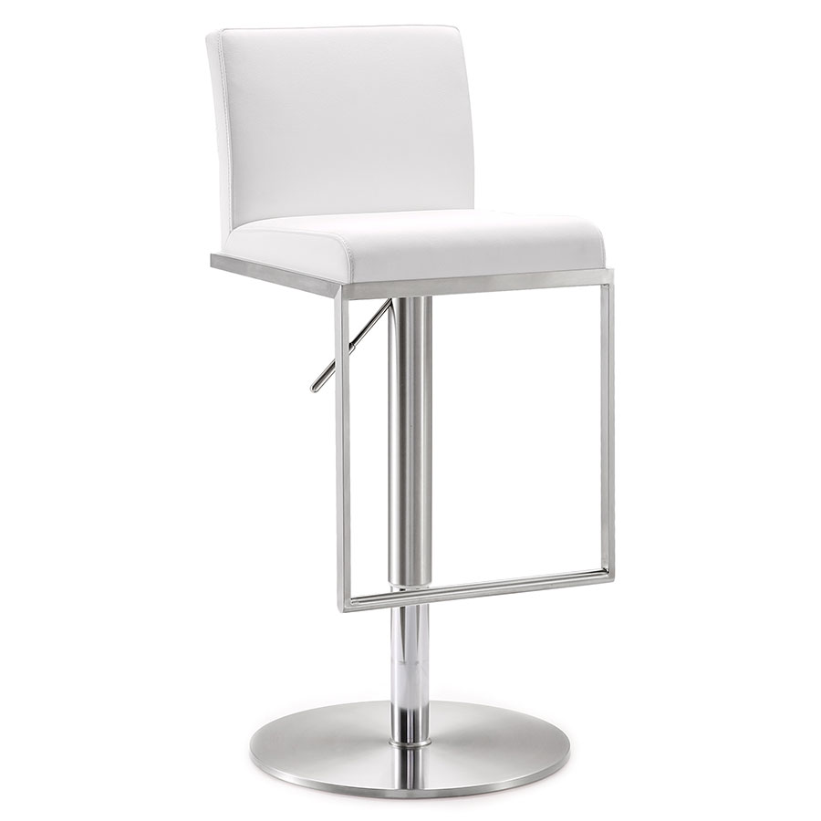 Modern Stools | Ardennes White Adjustable Stool | Eurway