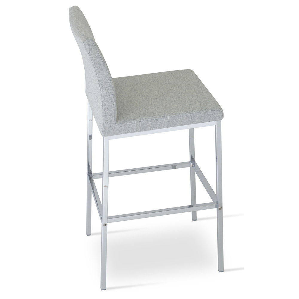 Outstanding Aria Counter Stool Chrome Base Silver Wool Alphanode Cool Chair Designs And Ideas Alphanodeonline