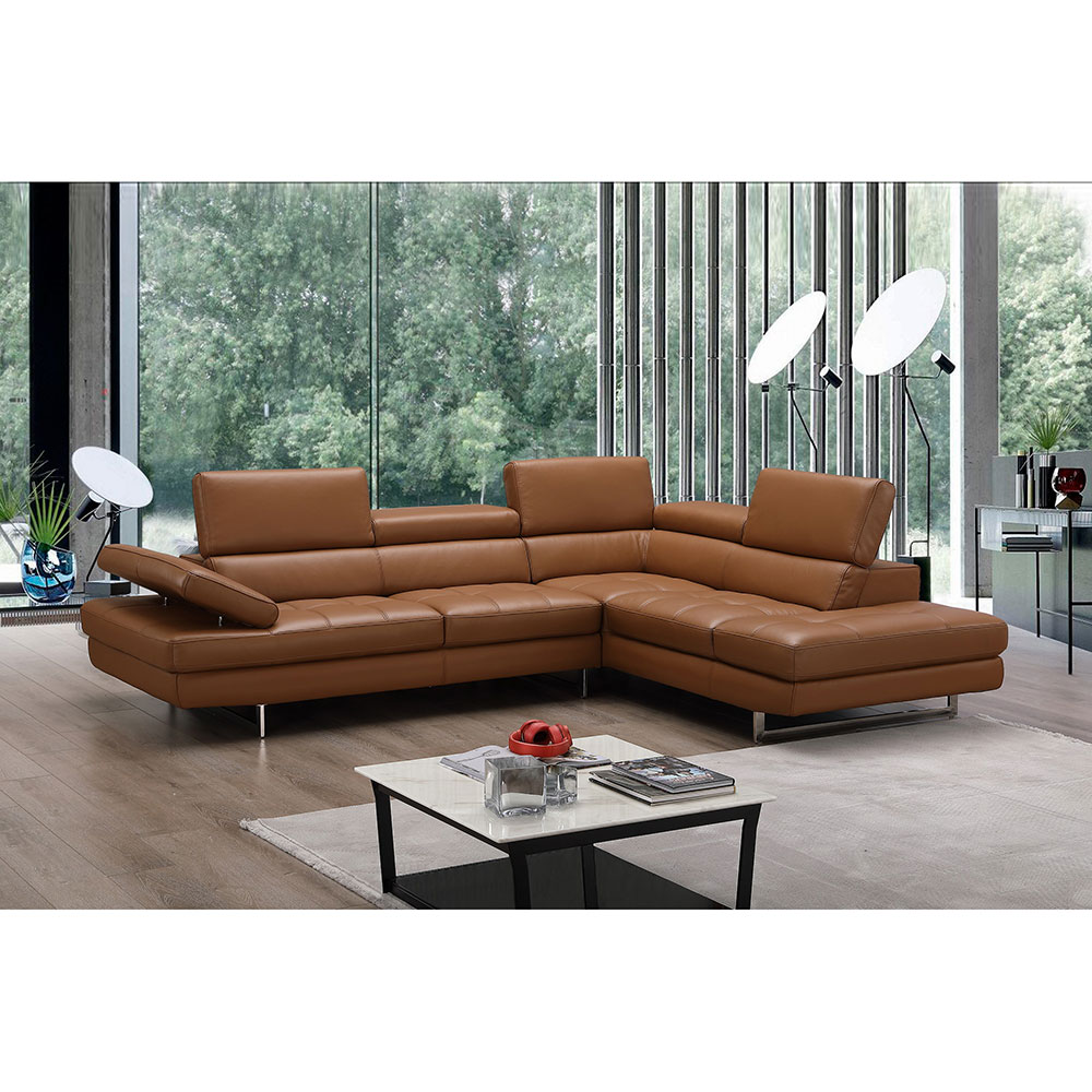 Excellent Aulum Leather Right Hand Sectional Caramel Caraccident5 Cool Chair Designs And Ideas Caraccident5Info