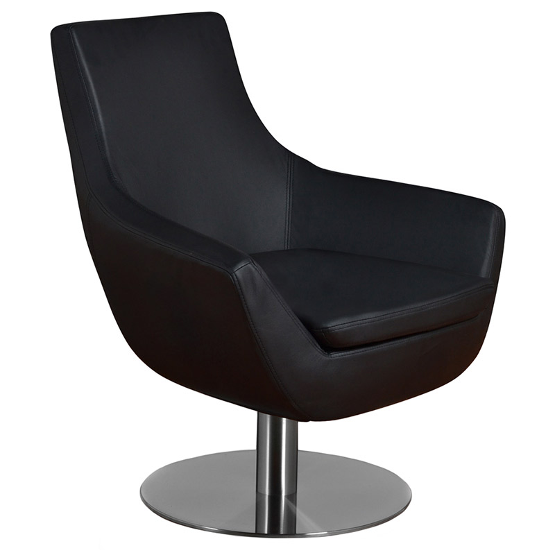 Marvelous Barlow Swivel Chair | Black Leatherette