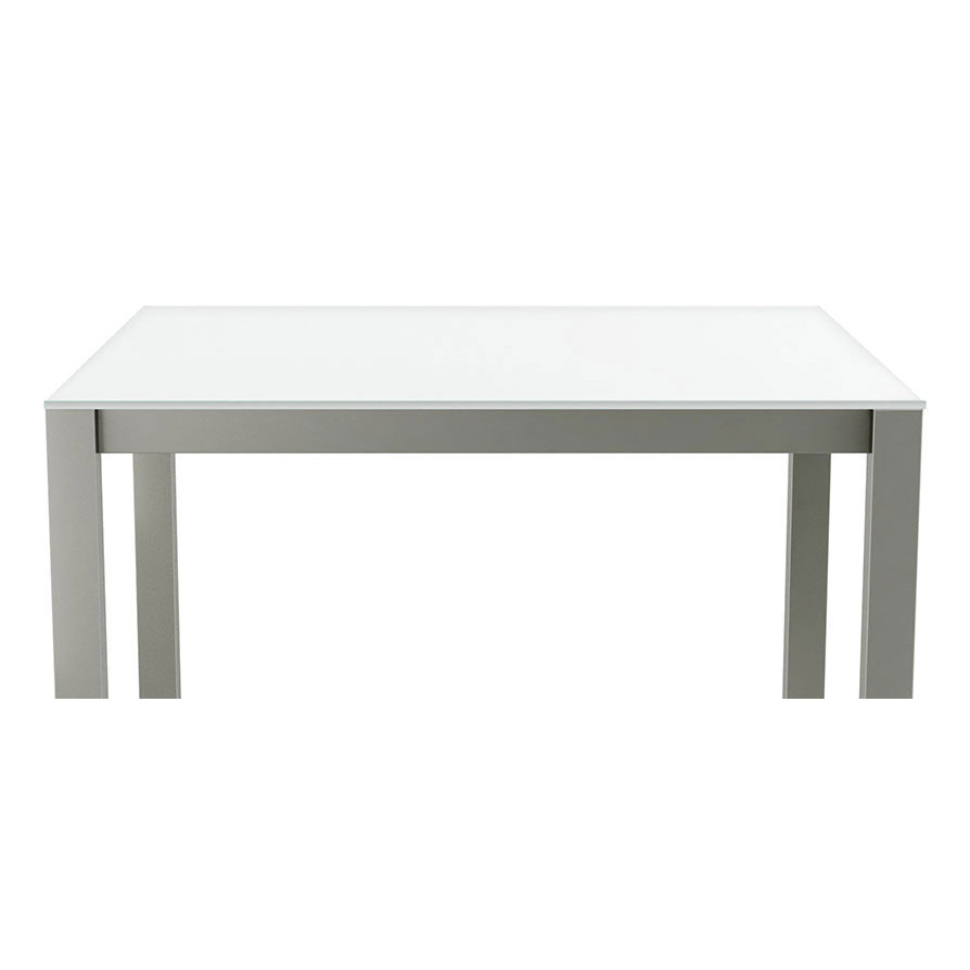 Carbon Modern White Glass Dining Table By Amisco Eurway