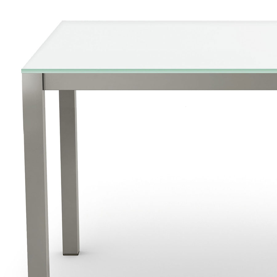 Carbon Dining Table | White Glass