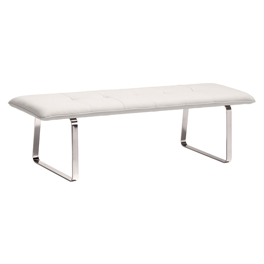 Carlene White Modern Dining Bench | Eurway Furniture