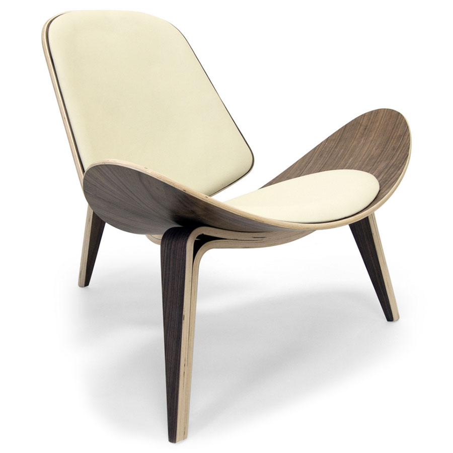Chicago Chair | Walnut + Cream Leather  sc 1 st  Eurway & Modern Accent Chairs | Chicago Wal/Crm Chair | Eurway