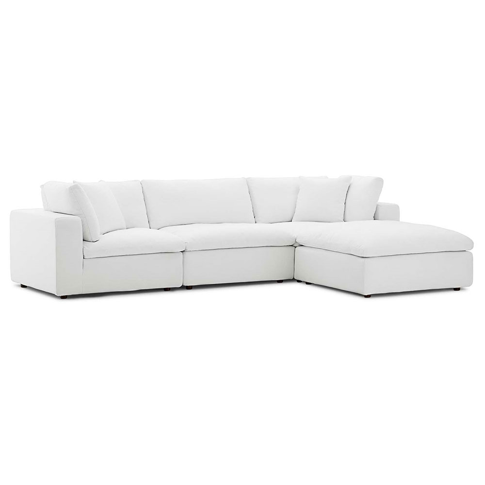 Command Modern 4pc Azure White Sectional | Eurway