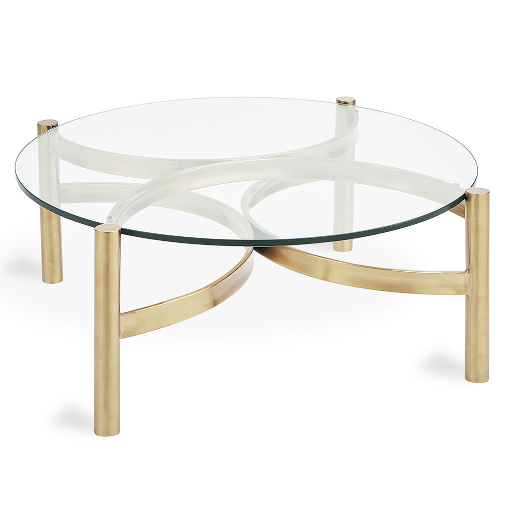 Gus Modern Compass Round Glass Coffee Table Eurway