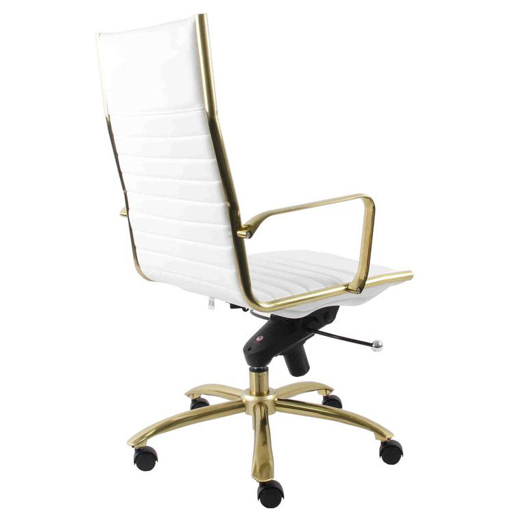 Dirk White Gold High Back Chair By, White And Gold Office Chair High Back
