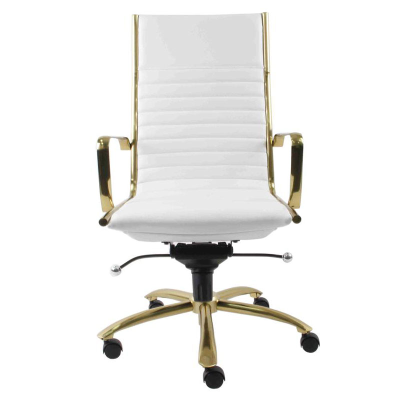 Drake White Leatherette Brushed Gold Steel Contemporary High Back Office Chair