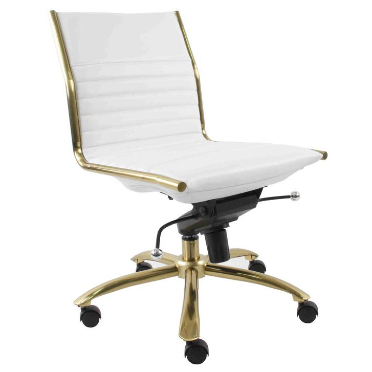 Dirk Armless Low Back Office Chair | White + Gold