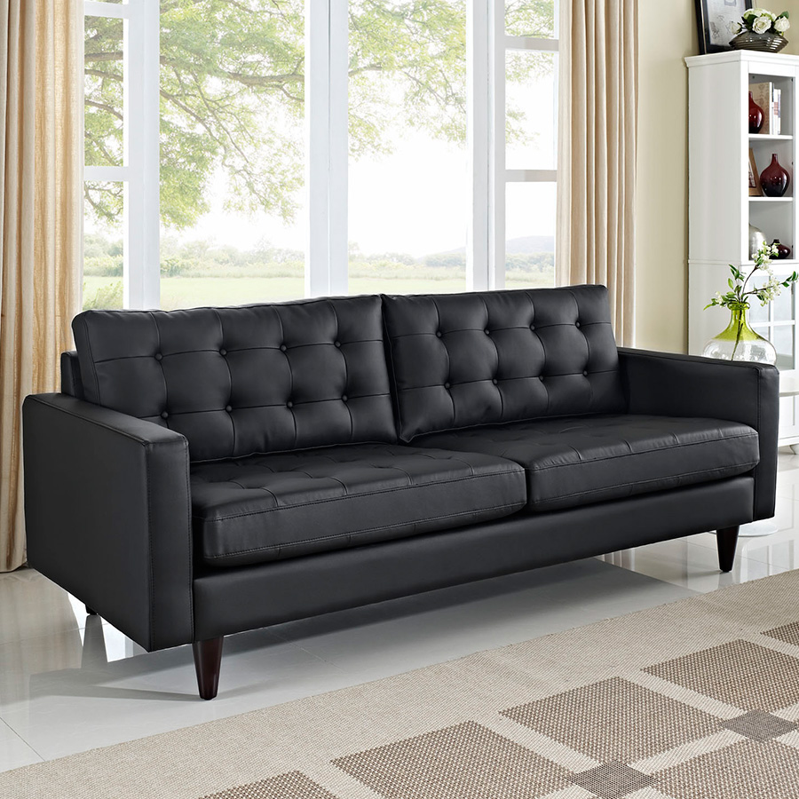 Enfield Modern Black Leather Sofa | Eurway Furniture