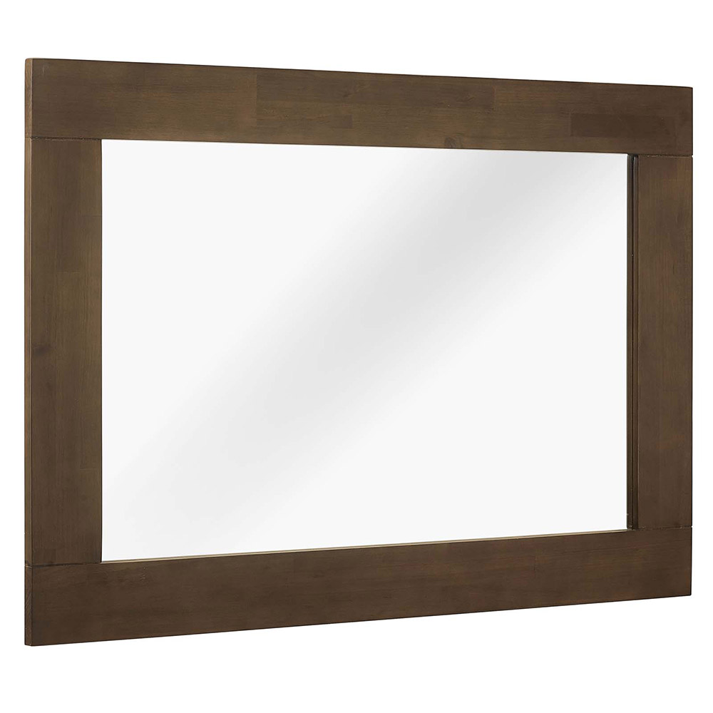 Evers Cocoa Stained Walnut Wood Modern Wall Mirror Eurway