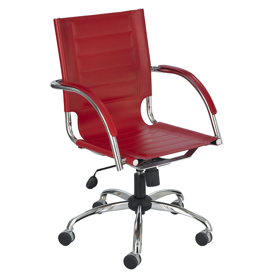 Fathom Red Modern Leather Office Chair Eurway