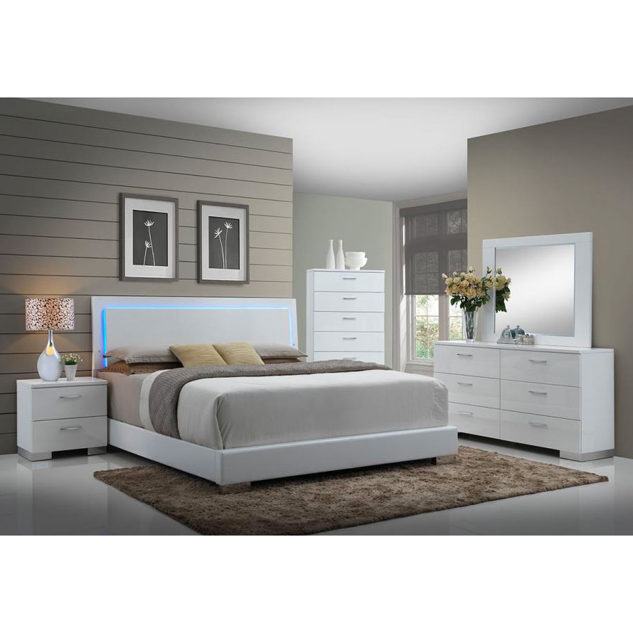 Magnificent Fredrika Bedroom Set Lighted Headboard Complete Home Design Collection Epsylindsey Bellcom