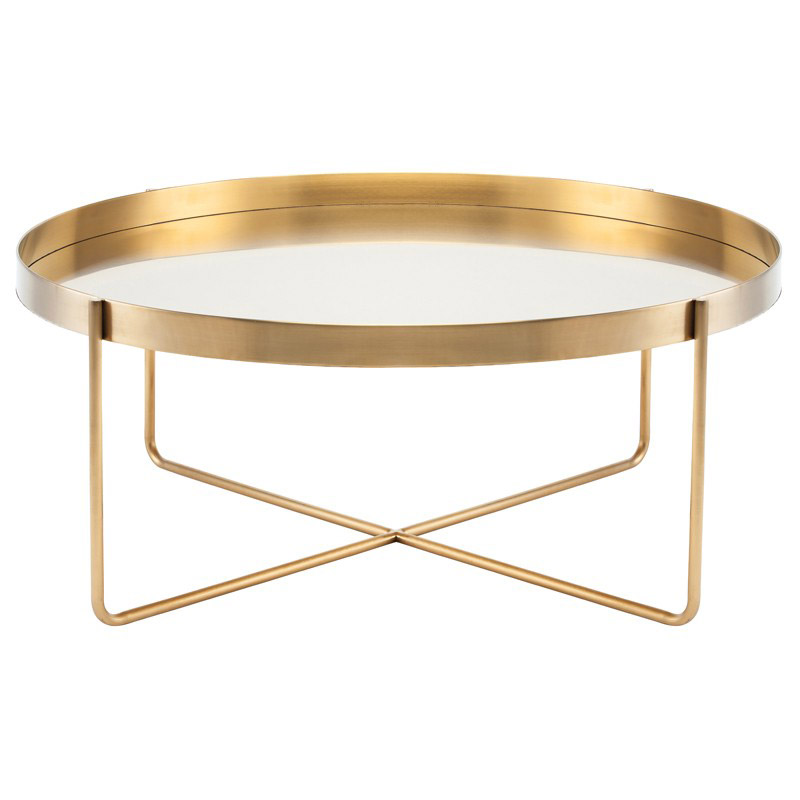 Gaultier Modern Gold Round Coffee Table, Gold Round Coffee Table