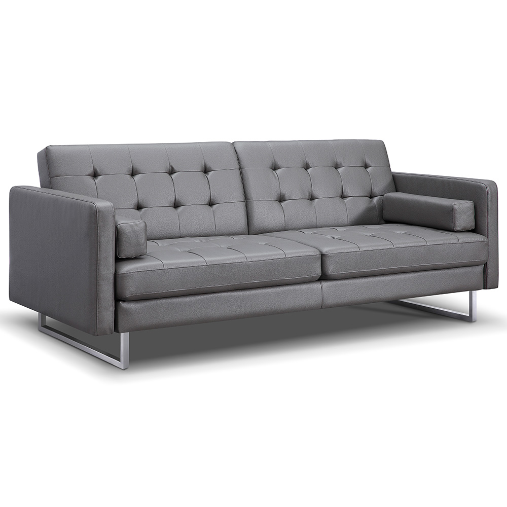 Giovanni Gray Faux Leather Sofa Bed By