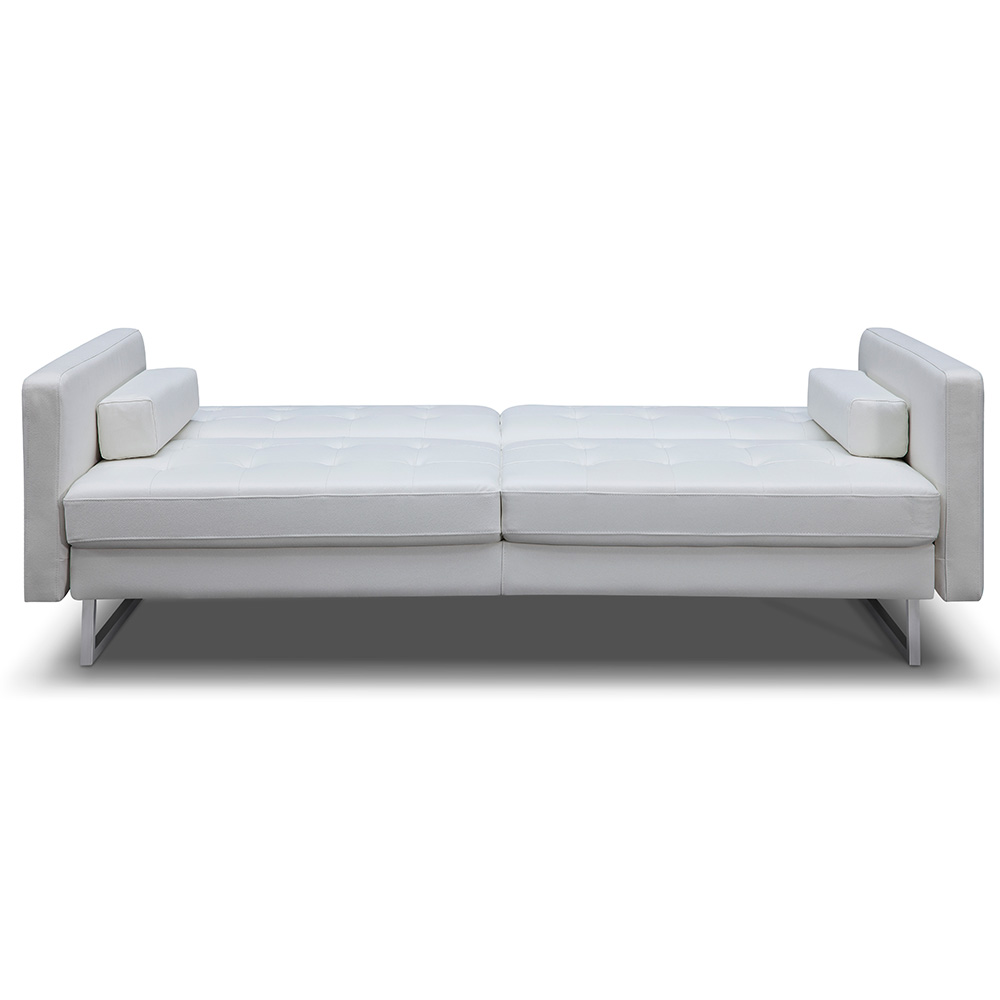 Giovanni White Faux Leather Sofa Bed by Whiteline | Eurway