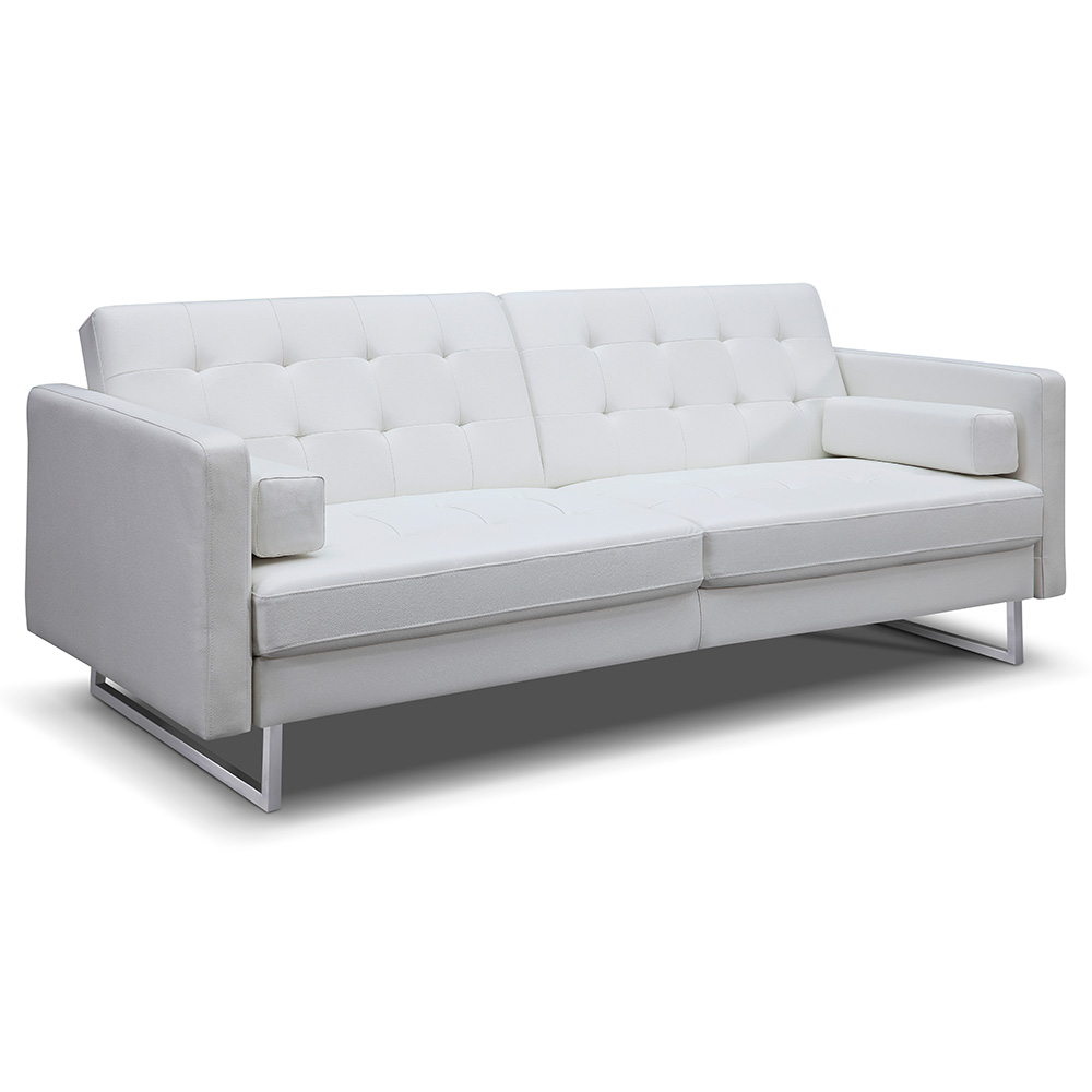 Cool Giovanni Sofa Bed White Faux Leather Theyellowbook Wood Chair Design Ideas Theyellowbookinfo