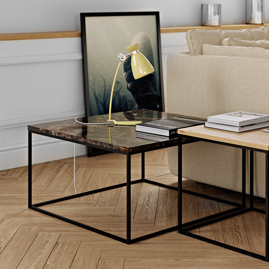Gleam brown marble black coffee table by temahome eurway gleam marble coffee table brown black watchthetrailerfo