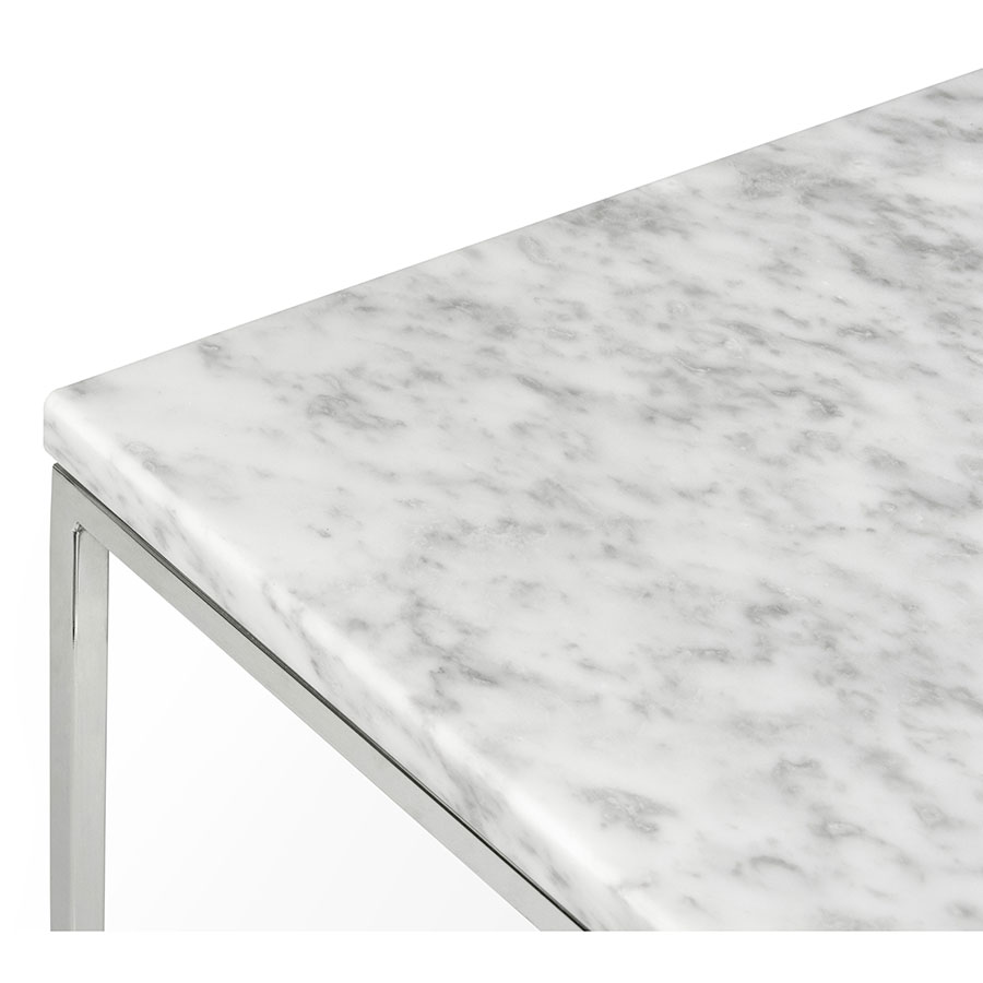 Charmant Gleam Marble Side Table | White + Chrome