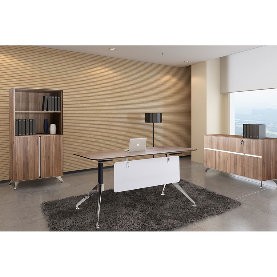 Image of: Office Desk Walnut In Jual Vienna Pc609 Walnut Office Desk With Drawers By Furnishings In Use Formyoffice