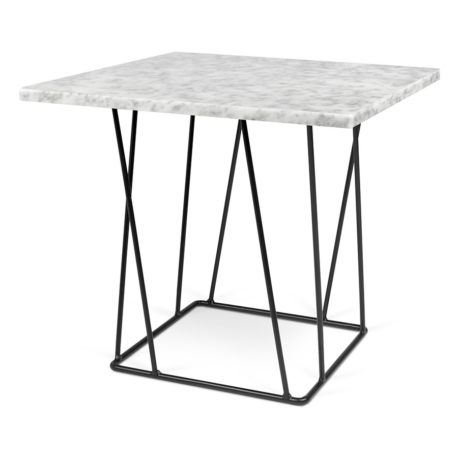 Helix Marble End Table | White + Black