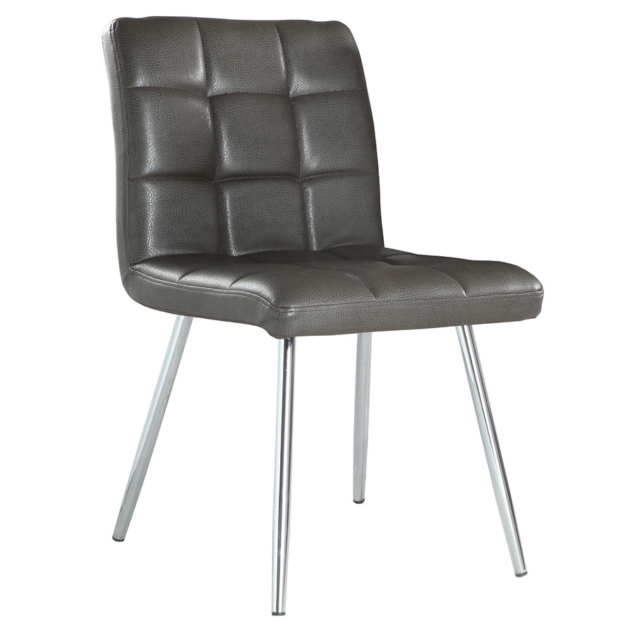Iowa Modern Gray Chrome Dining Chair Eurway