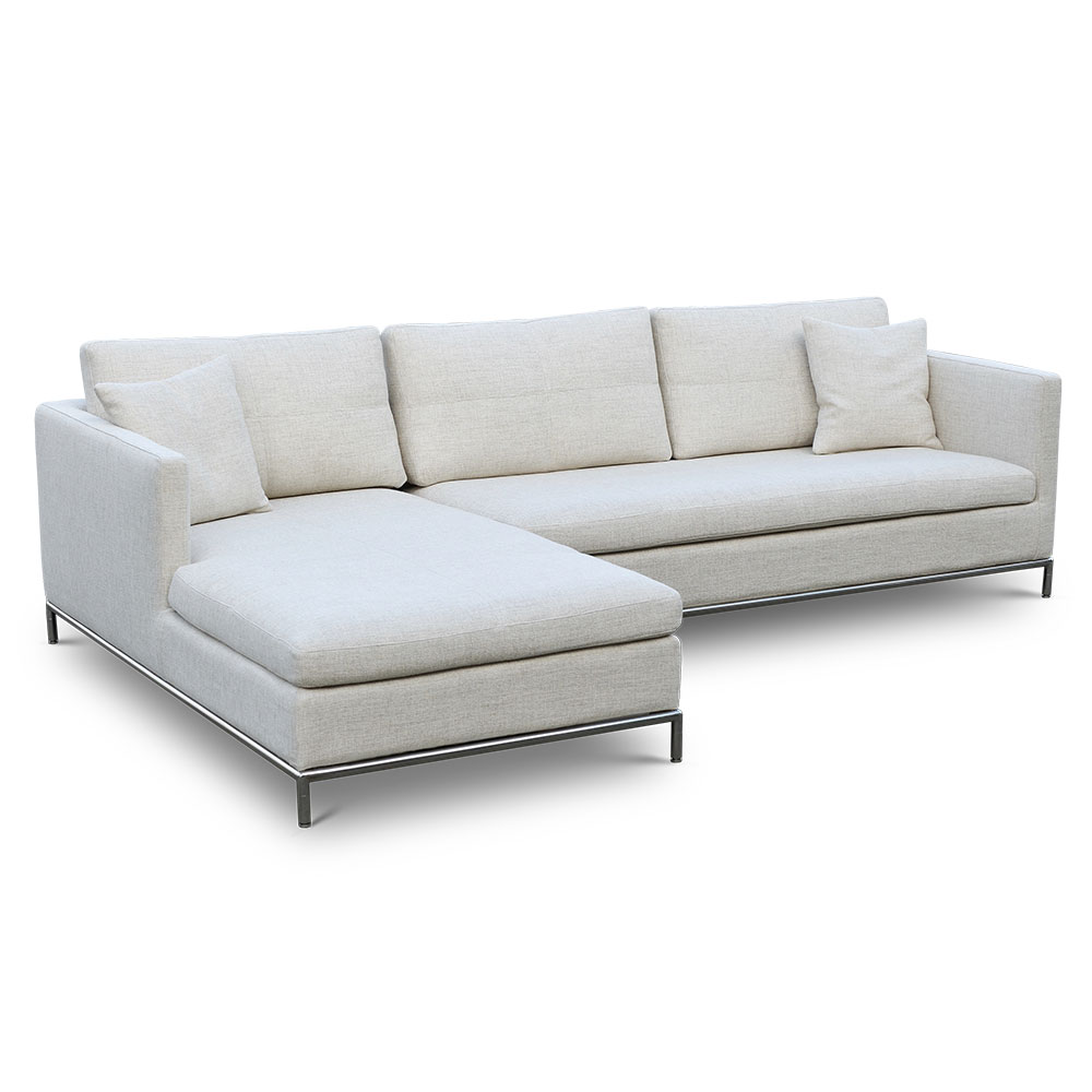 Istanbul Lhf Chaise Sofa In Cream Tweed