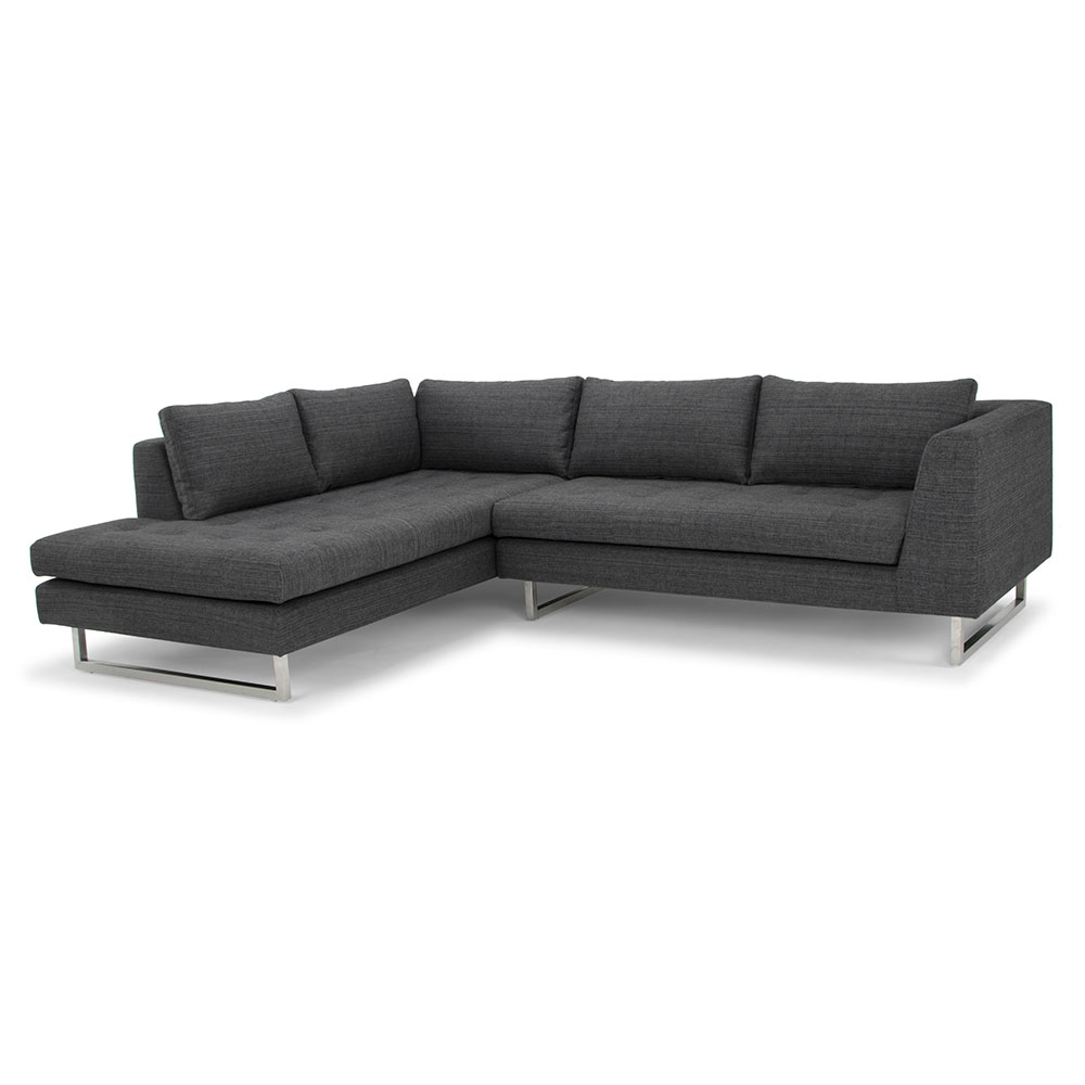JOLIET LEFT FACING SECTIONAL SOFA | DARK GRAY TWEED