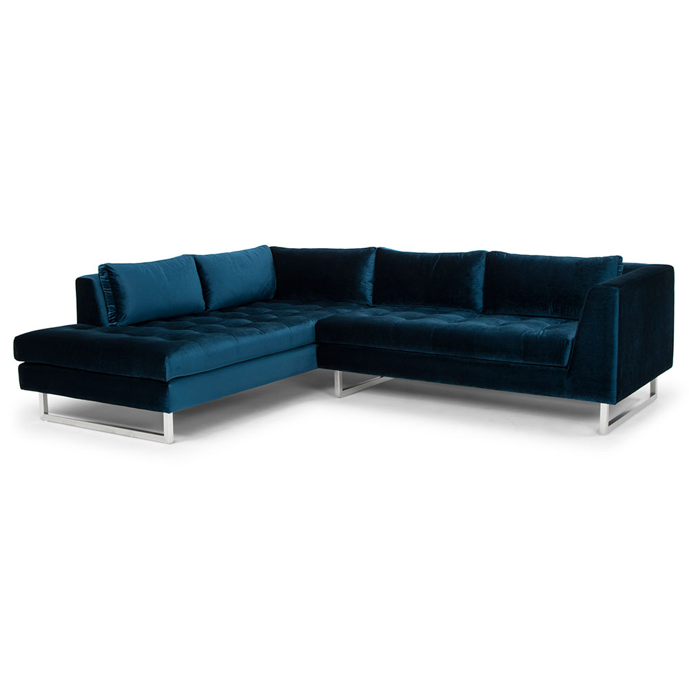 Amazing Janis Left Facing Sectional Sofa Midnight Blue Beatyapartments Chair Design Images Beatyapartmentscom