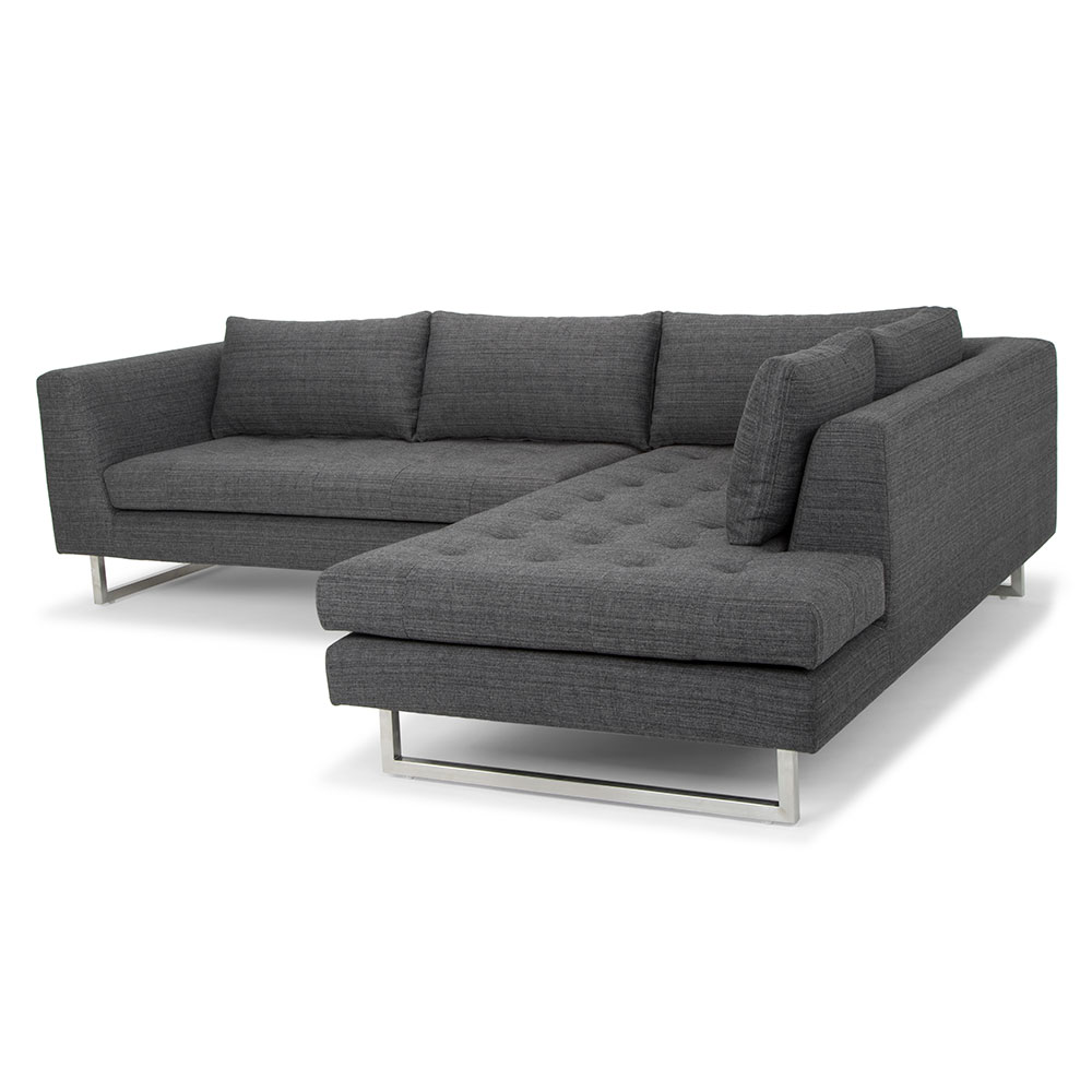 Enjoyable Janis Right Facing Sectional Sofa Dark Gray Tweed Andrewgaddart Wooden Chair Designs For Living Room Andrewgaddartcom