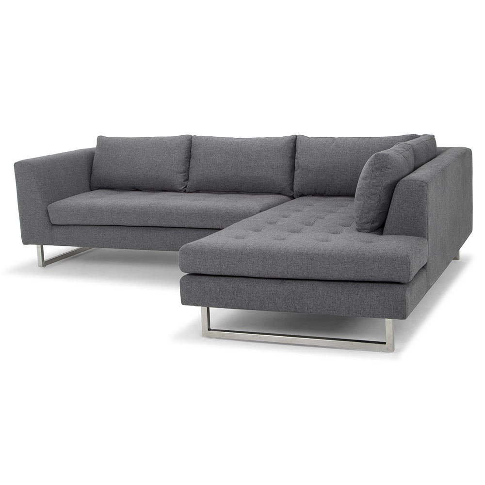 . Janis Right Facing Sectional Sofa   Shale Gray