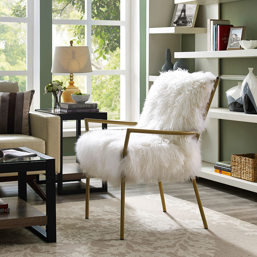 Modern Chairs Levy White Gold Accent Chair Eurway