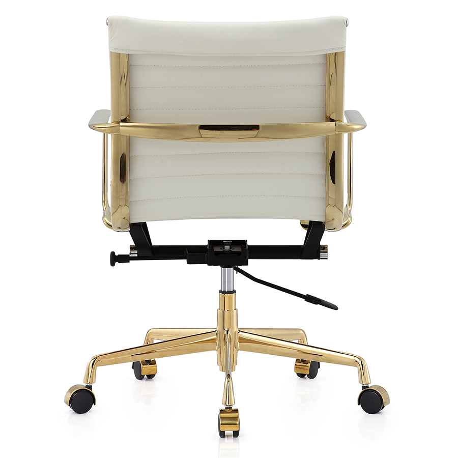 Marquis Gold White Leather Modern Office Chair Eurway