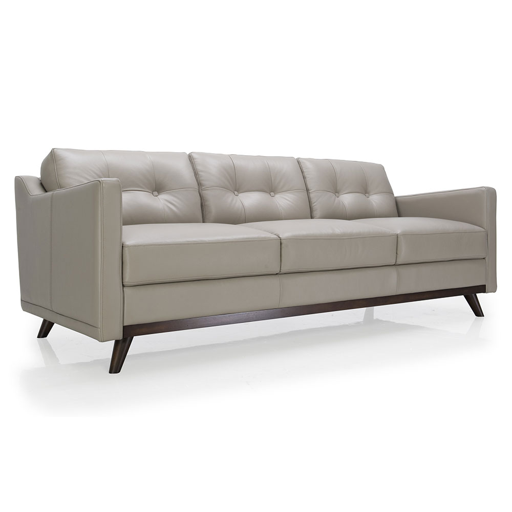 Melanie Gray Leather Sofa