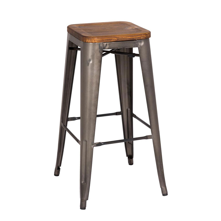 Metro Backless Bar Stool Gun Metal Wood Set Of 4