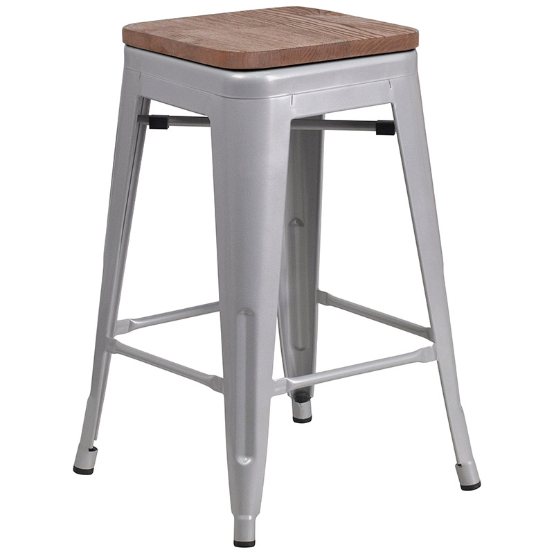 Awe Inspiring Metro Backless Counter Stool Silver Wood Alphanode Cool Chair Designs And Ideas Alphanodeonline