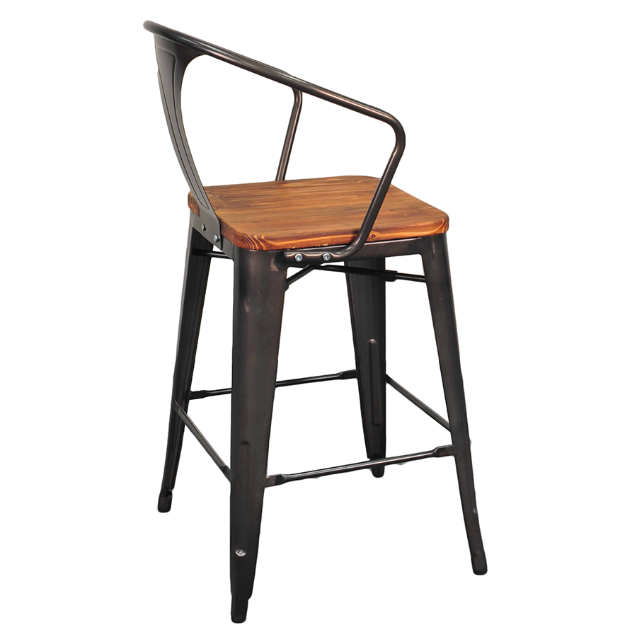 Metro modern gun metal wood counter stool eurway