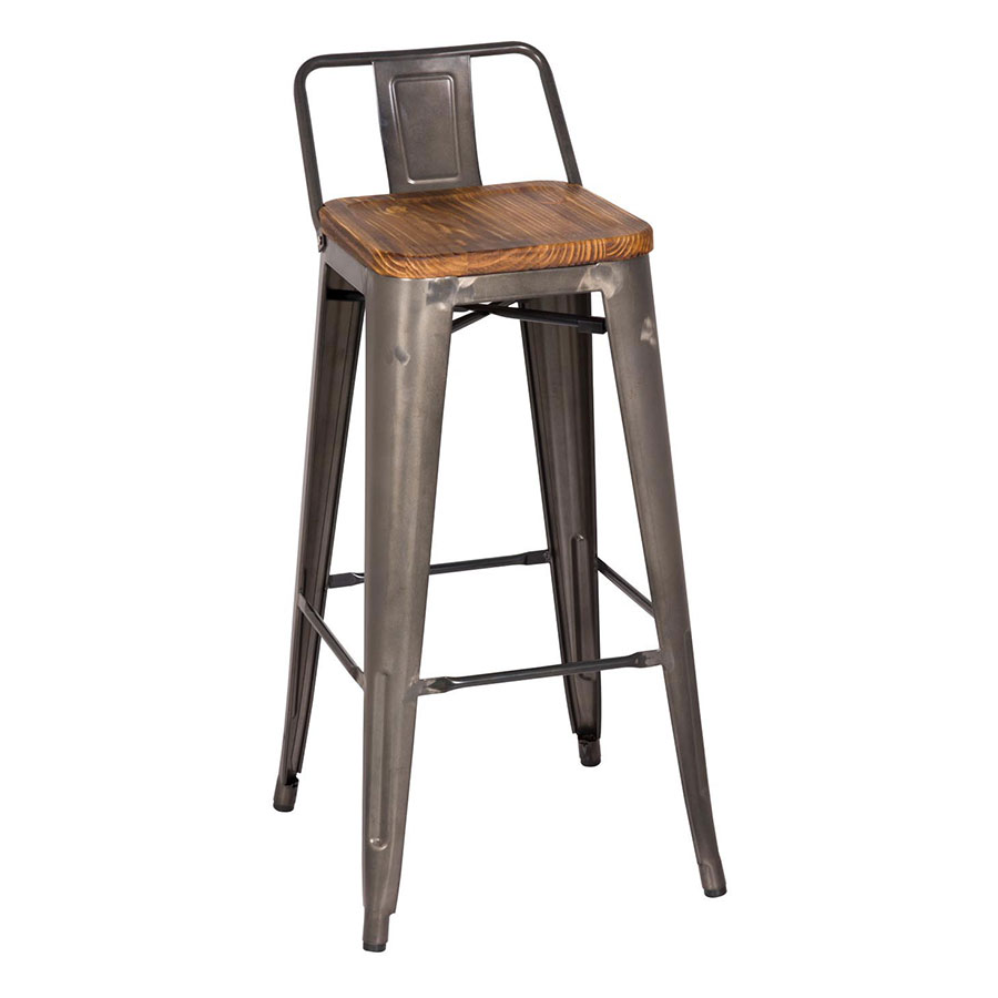 Metro Low Back Bar Stool | Gun Metal + Wood | Set of 4